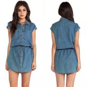 Paige Mila Chambray Flyer Shirt Dress Size S